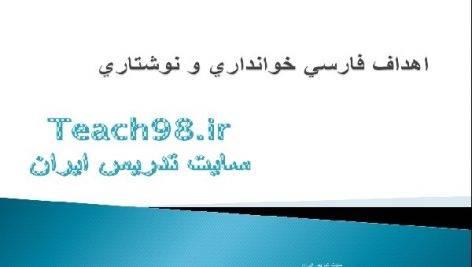 پاورپوینت اهداف فارسی خوانداری و نوشتاری