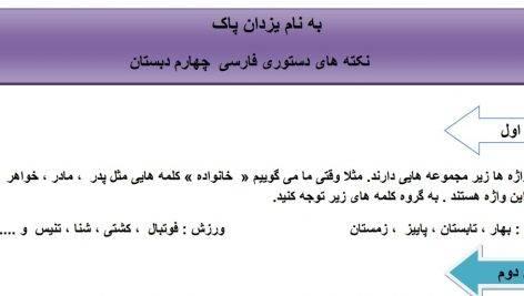 نکات دستوری فارسی+نمونه سوالات-چهارم ابتدایی